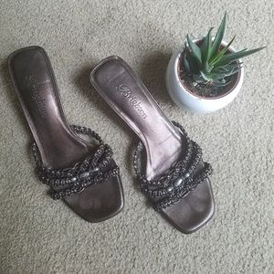 Brighton Karen low heel slip on bronze sandals